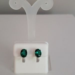 Sterling silver and lab emerald earrings